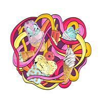 Bunte Vektorhand gezeichnete Gekritzelkarikatur-Eiscremezusammensetzung.
