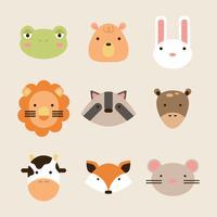 Färgglada Flat Animal Faces