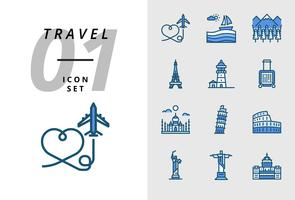Pack-Symbol für Reisen, Flugzeug, Landschaft, Wald, Pariser Turm, Leuchtturm, Trolley, Taj Mahal, Pisa-Turm, Kolosseum, Statue der Vereinigten Staaten, Deja Neiro, Kapitalgebrauch.