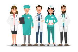 Satz von Doktor- und Krankenschwesterzeichentrickfilm-figuren vektor