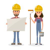 Architekt, Vorarbeiter, Ingenieur im Bauwesen in unterschiedlichem Charakter
