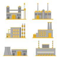 samling industri fabrik i en platt stil isolerad på vit bakgrund vektor