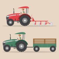 uppsättning traktormaskin på lantgård vektor