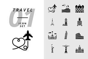 Pack-Symbol für Reisen, Flugzeug, Landschaft, Wald, Pariser Turm, Leuchtturm, Trolley, Taj Mahal, Pisa-Turm, Kolosseum, Statue der Vereinigten Staaten, Deja Neiro, Kapitalgebrauch. vektor