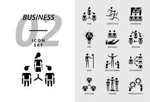Ikonpaket för företag, lag, tävling, konferens, idé, försäkring, rotation, mål, motivation, outsourcing, struktur, framgång, produktivitet.