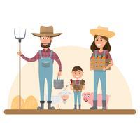 glückliche Landwirtfamilienzeichentrickfilm-figur im organischen ländlichen Bauernhof vektor