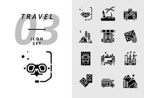 Pack ikon för resor, Scuba, strand, resväska, camping, ryggsäck, karta, buss biljett, husbil, slott, pass, camper van, is berg. vektor
