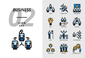 Icon Pack für Business, Team, Wettbewerb, Konferenz, Idee, Versicherung, Rotation, Ziel, Motivation, Outsourcing, Struktur, Erfolg, Produktivität. vektor