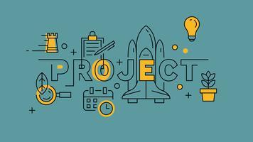 Projektorange in Blue Line Design. Einzigartiges Startup für die bessere Welt und Zukunft. Fahnen-Gekritzel-Konzept-Illustration