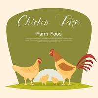 Huhn mit grünem Schild. Satz Tiere innerhalb der Farm