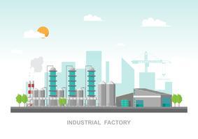 Industrielle Fabrik in einer flachen Art. Vektor und Illustration des Herstellungsgebäudes