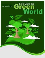 Denke grün Plakat Vorlage vektor