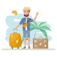 folk reser. par med väska för semester