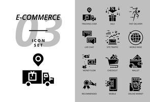 Ikonpaket för e-handel, spårningskod, försäljning, snabb leverans, pengaflöde, kassa, plånbok, direktchatt, webbplatsstrafik, världsomspännande, mobil, online-marknad. vektor