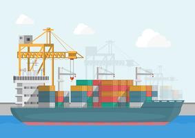 Lager och logistik logistik på en platt stil vektor