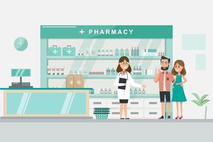 Apotheke mit Krankenschwester in der Theke. Drogerie-Zeichentrickfigur