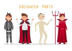 Halloween-Kinder tragen ein Kostüm für eine Party. Gruppe Kinder getrennt auf weißem Hintergrund.
