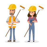 Architekt, Vorarbeiter, Ingenieur im Bauwesen in unterschiedlichem Charakter vektor