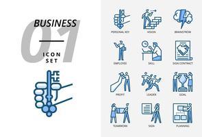 Symbolsatz für Geschäft und Strategie, persönlicher Schlüssel, Vision, Brainstorming, Mitarbeiter, Fähigkeit, Zeichenvertrag, Gewinn, Führer, Ziel, Teamarbeit, Zeichen, Planung.