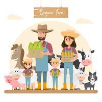 bondefamiljstecknadskaraktär med djur i ekologisk lantgård.
