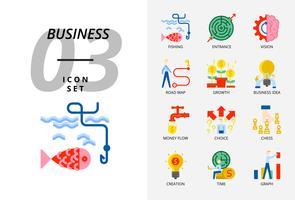 Ikonpaket för företag och strategi, Fiske, entré, vision, vägkarta, tillväxt, affärsidé, penningflöde, valfrihet, skapande tid, graf. vektor