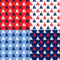 sömlösa röd vitblå segelbåt mönster