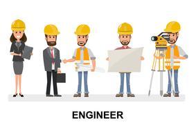 Civilingenjör, arkitekt och byggnadsarbetare karaktärsgrupp. Kall vektor plattdesign konstruktion lag tecken line-up.