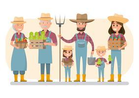 glückliche Landwirtfamilienzeichentrickfilm-figur im organischen ländlichen Bauernhof. vektor