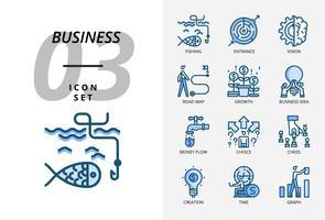 Ikonensatz für Geschäft und Strategie, Fischen, Eingang, Vision, Roadmap, Wachstum, Geschäftsidee, Geldfluss, Wahlmöglichkeit, Erstellungszeit, Diagramm.