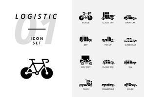 Icon-Pack für Logistik, Tieflader, Produkt suchen, Lieferfund, Flugzeug, Gewicht, Roller, Standort, geschützt, Lieferung, Zug, Schiff, Globusstandort