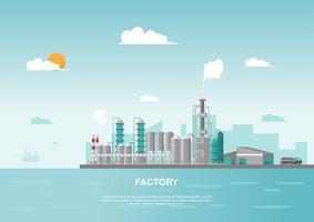 Industriell fabrik i havet på platt stil. Vektor och illustration av tillverkningsbyggnad.