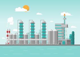 Industriell fabrik i havet på platt stil. Vektor och illustration av tillverkningsbyggnad