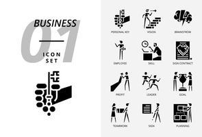 Ikonpaket för företag och strategi, Personlig nyckel, vision, brainstorm, anställd, skicklighet, teckna kontrakt, vinst, ledare, mål, lagarbete, tecken, planering. vektor
