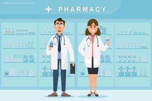 apotek med läkare och sjuksköterska i räknaren