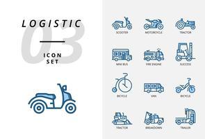 Icon Pack für Logistik, schneller LKW, Einkauf, Lieferzeit, Gabelstapler, Container, Verpackung, Container, Schiff, Postbote, Luftfracht, Fahrradkurier, Tracking