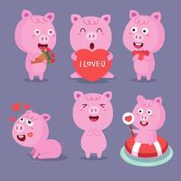 Tecknad gris. Söt leende grisar som leker i leran. Vektor gård djur teckenuppsättning. Illustration av gris i lera, rolig gårdsvin