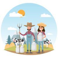 Landwirtzeichentrickfilm-figur mit Milchkuh im organischen ländlichen Bauernhof vektor