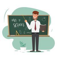 männlicher Lehrer mit Zeiger auf Lektion an der Tafel im Klassenzimmer.