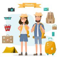 folk reser. par med ryggsäck och utrustning set gå för att resa på semester