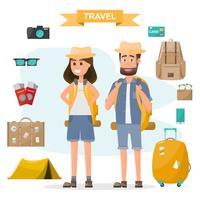 Leute reisen. Paar mit Rucksack und Ausrüstung gehen in den Urlaub reisen