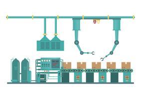 Industriell fabrik maskin och tillverkning process teknik i platt stil
