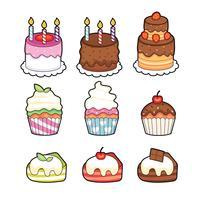 Hand gezeichneter kleiner Kuchen. Süße Bäckerei. Cupcake-Logo Zucker Essen Süße Creme. Satz des süßen Zuckerkleinen kuchens lokalisiert auf weißem Hintergrund. Vanillepudding-Kuchen. Dessert zum Tee. Vektorgrafiken zu entwerfen