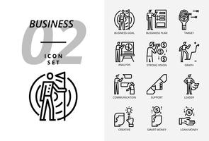 Ikonpaket för företag och strategi, Affärsmål, affärsplan, mål, analytiker, stark vision, graf, kommunikation, support, ledare, kreativa, smarta pengar, lånepengar. vektor