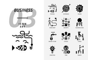 Ikonensatz für Geschäft und Strategie, Fischen, Eingang, Vision, Roadmap, Wachstum, Geschäftsidee, Geldfluss, Wahlmöglichkeit, Erstellungszeit, Diagramm. vektor
