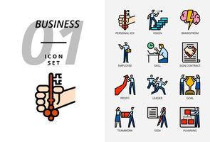 Symbolsatz für Geschäft und Strategie, persönlicher Schlüssel, Vision, Brainstorming, Mitarbeiter, Fähigkeit, Zeichenvertrag, Gewinn, Führer, Ziel, Teamarbeit, Zeichen, Planung. vektor