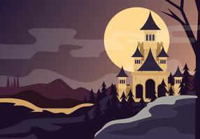 Zaubererschule bei Nacht vektor