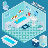 Isometrisches Badezimmer Interieur
