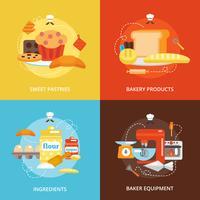 Bageri platt ikoner uppsättning vektor