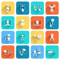 Onlineausbildungs-Ikonen flach