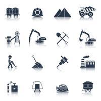 Kohleindustrie Icons schwarz